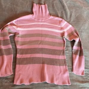 Pink white and tan striped sweater